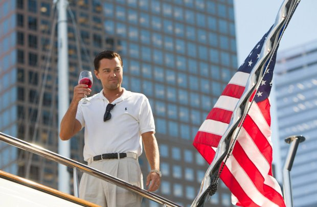 "This film image released by Paramount Pictures shows Leonardo DiCaprio as Jordan Belfort in a scene from The Wolf of Wall Street."" (AP Photo/Paramount Pictures, Mary Cybulski)"