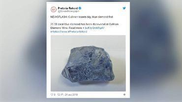 Niebieski diament odkryty w kopalni Cullinan w Republice Południowej Afryki