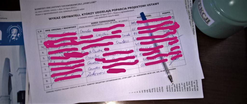Listy z poparciem ustawy 'Stop LGBT' na których widać dane wrażliwe w kościele parafii Trójcy Św. w Czudcu.