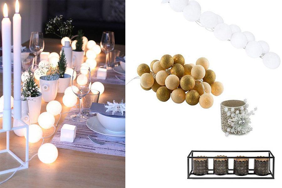 Dekoracje stołu: światełka