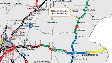 Aktualna mapa wschodniej części trasy S19