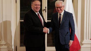 Spotkanie w Warszawie ministra spraw zagranicznych Jacka Czaputowicza z sekretarzem stanu USA Mikem Pompeo