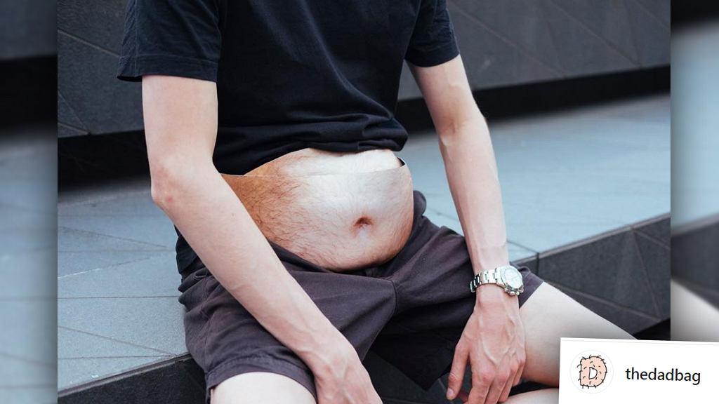 'Dadbag' to saszetka imitująca męski, wystający brzuch.