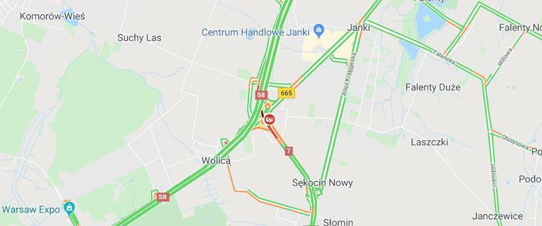 Wolica. Wypadek na S7, przy wylocie z Warszawy. Ranne zostały dwie osoby