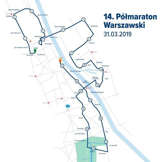 14. PZU Półmaraton Warszawski - trasa