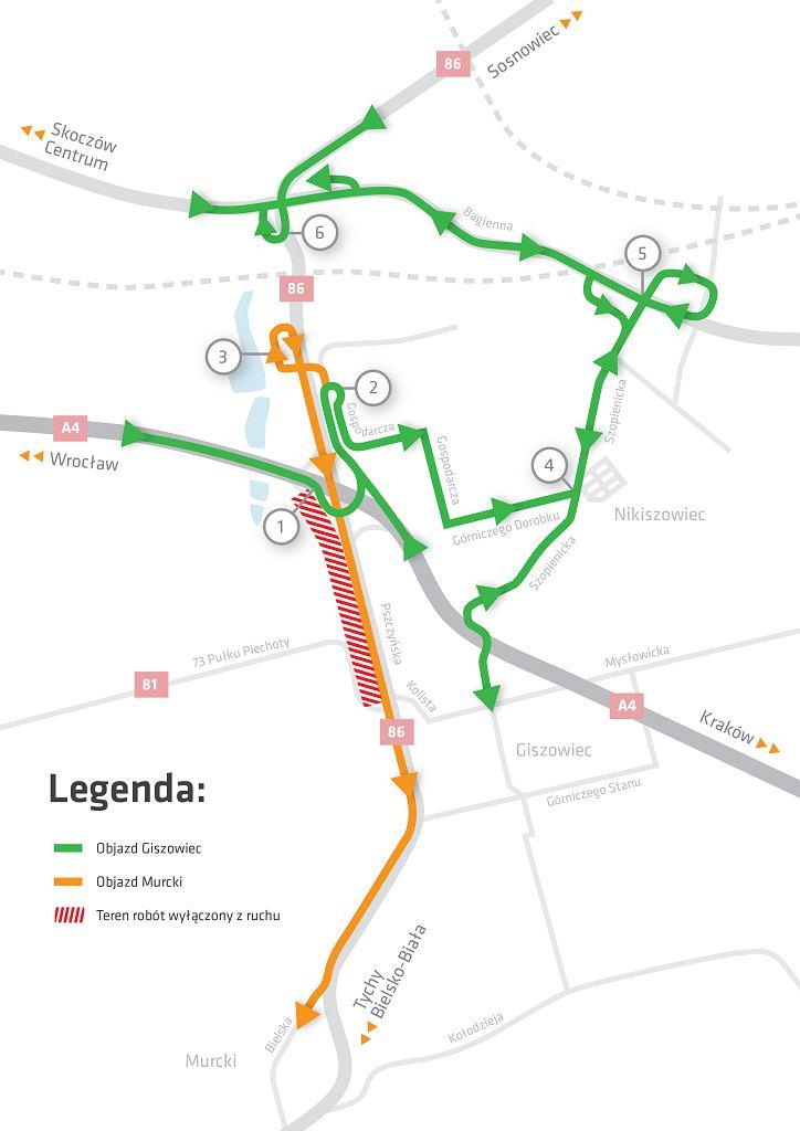 Przebudowa DK81 i DK86 w Katowicach. Mapa objazdów