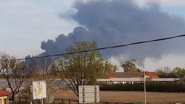 Kędzierzyn-Koźle. Pożar w zakładach azotowych, gęsty dym nad miastem