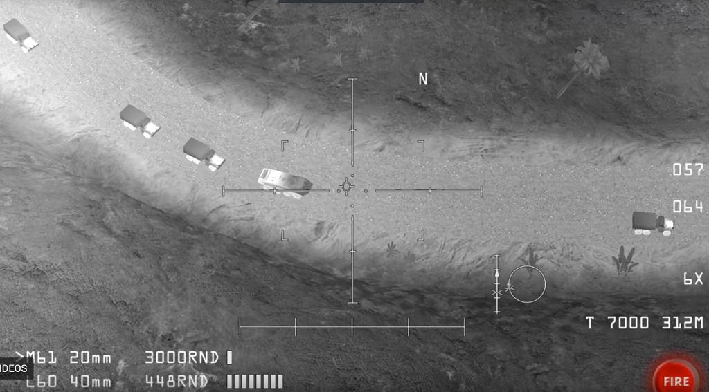 Fragment gry wideo pokazany przez rosyjski MON jako zdjęcie z samolotu wojskowego
