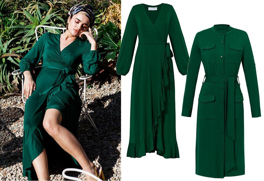 Sukienki w kolorze butelkowej zieleni z kolekcji Risk made in Warsaw