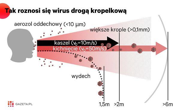 Podczas wydechu kropelki większe niż aerozole oddechowe, wydostając się z dróg oddechowych z prędkością poniżej metra na sekundę, odparowują lub spadają na ziemię w odległości mniejszej niż 1,5 m. Podczas kaszlu i kichania prędkość jest znacznie większa. To umożliwia rozsiewanie kropel nawet w promieniu 6 metrów.