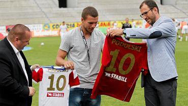 Lukas Podolski podczas meczu T-mobile Ekstraklasa