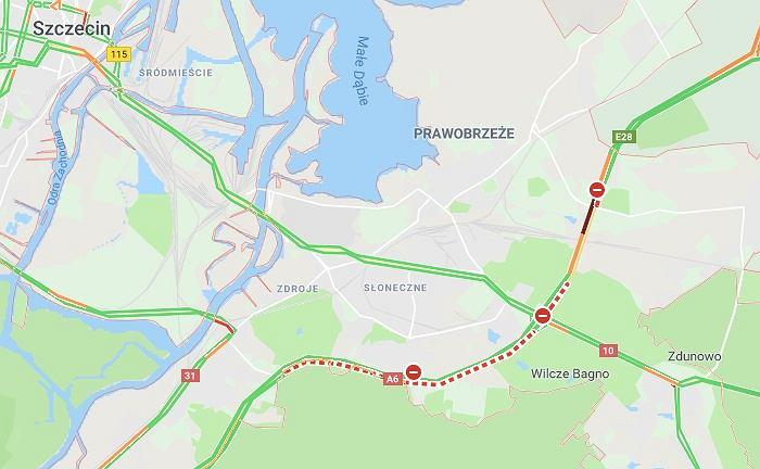 Karambol na A6 pod Szczecinem. W wypadku na A6 brało udział 6 osobówek i ciężarówka