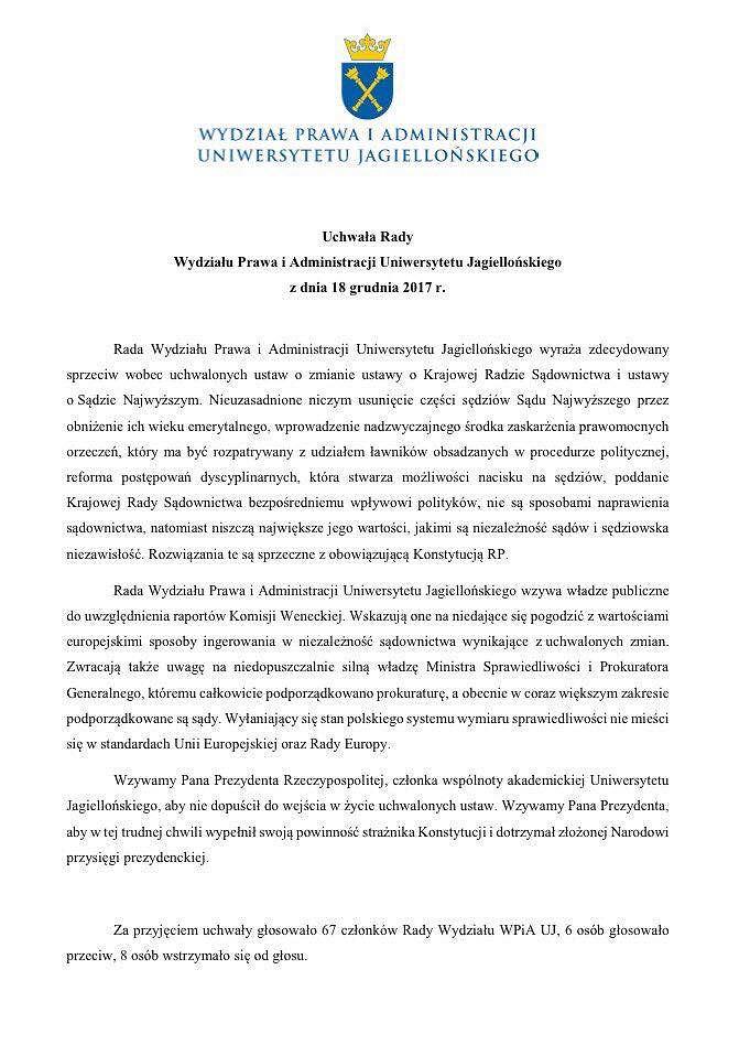 Uchwała Rady Wydziału Prawa i Administracji Uniwersytetu Jagiellońskiego z dnia 18 grudnia 2017 r