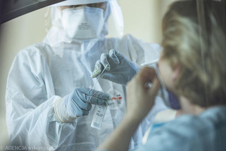 Koronawirus. Wykonywanie testu na obecność COVID-19 (zdjęcie ilustracyjne).