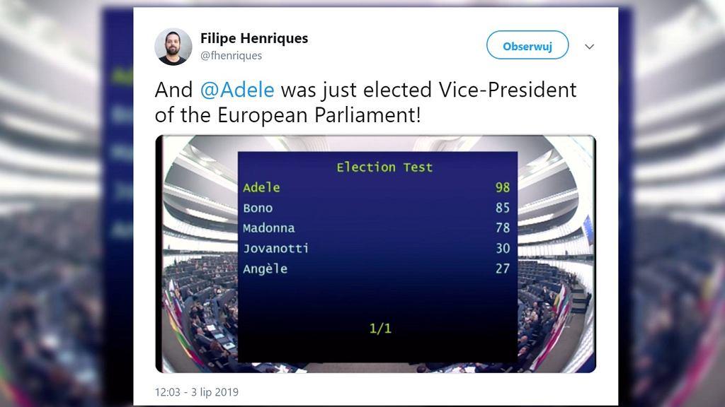 Wyniki próbnego głosowania posłów Parlamentu Europejskiego.