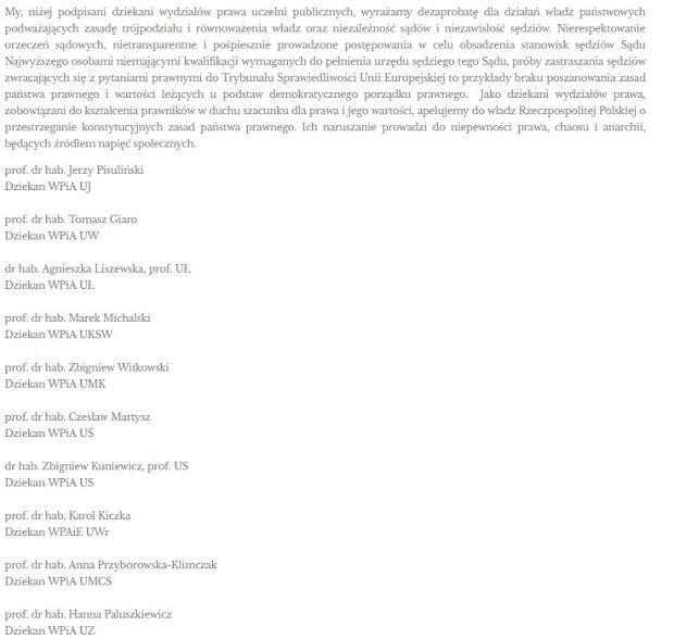 List dziekanów wydziałów prawa uczelni niepublicznych