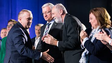 Przewodniczący PO Grzegorz Schetyna (pierwszy z lewej) ogłosił, że liderką poznańskiej listy KO do Sejmu będzie Joanna Jaśkowiak. Na drugim miejscu znajdzie się poseł Rafał Grupiński (trzeci z lewej).