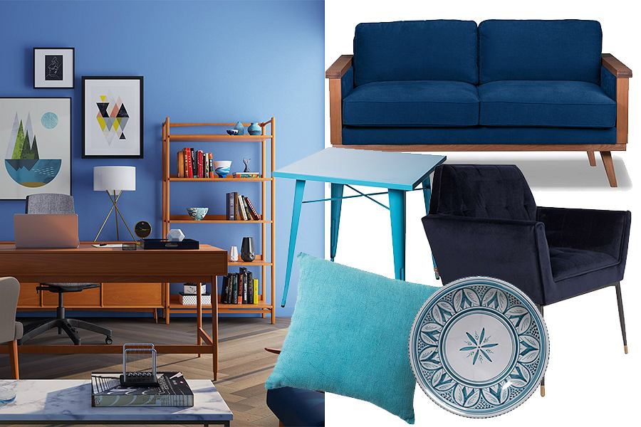 Niebieski we wnętrzach - inspiracje