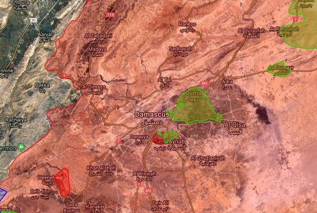 Sytuacja w rejonie Damaszku. Na czerwono - terytorium reżimu; na zielono - enklawa zbrojnej opozycji we Wschodniej Ghoucie