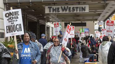 Strajk pracowników i pracownic Marriott International, Detroit 20.10.2018.