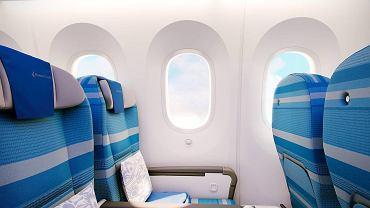 Dreamlinera mają wyróżniać duże okna. Zwykle w samolotach są one niewielkie - głównie z powodu możliwości konstrukcyjnych. Boeing chwali się, że mógł je powiększyć dzięki temu, że kadłub w dużej części zbudowany jest z materiałów kompozytowych