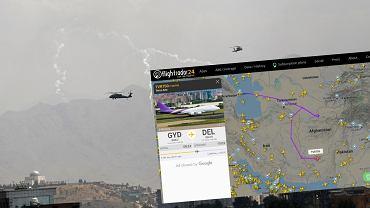 Afganistan. Na zdjęciu: w powietrzu helikoptery Black Hawk sił USA. Przestrzeń powietrzna kraju omijana przez samoloty cywilne.