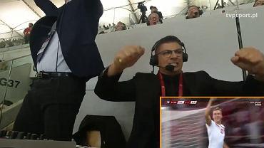 Mateusz Borek i Kazimierz Węgrzyn w trakcie meczu Polska - Albania