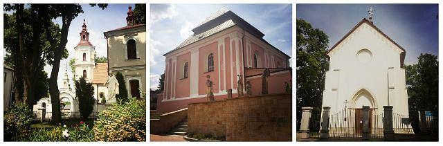 Szczebrzeszyn był wielokulturowym i wielowyznaniowym miasteczkiem. Na zdjęciu czynne kościół św. Mikołaja i cerkiew Zaśnięcia Najświętszej Maryi Panny oraz nieczynna synagoga - zamieniona na dom kultury.