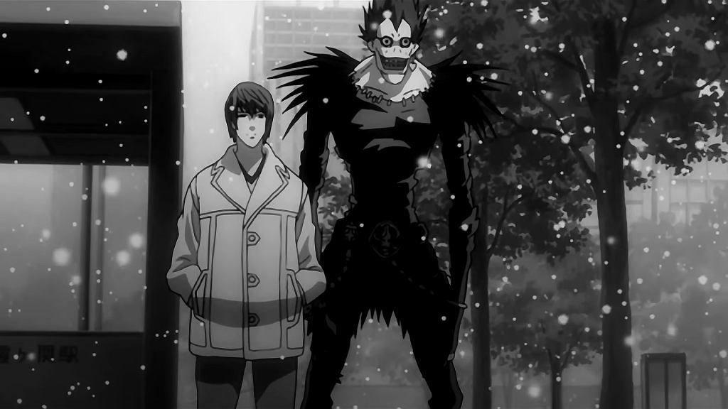 Kadr z serialu anime 'Death Note'.