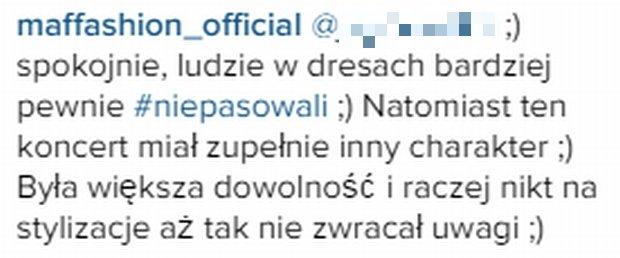 Komentarz Maffashion na Instagramie