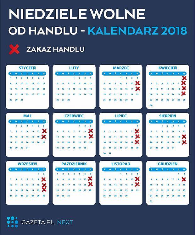 Kalendarz - niedziele handlowe lipiec 2018 i inne miesiące