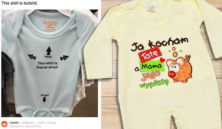 Śmieszne napisy w formie nadruków są popularne także na ubrankach dla niemowląt