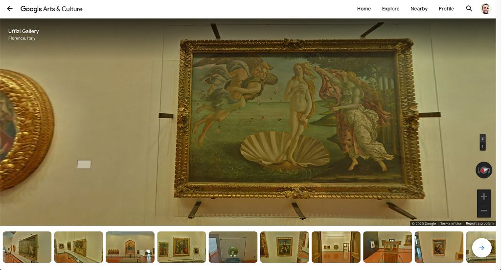 'Narodziny Wenus' w Google Arts and Culture
