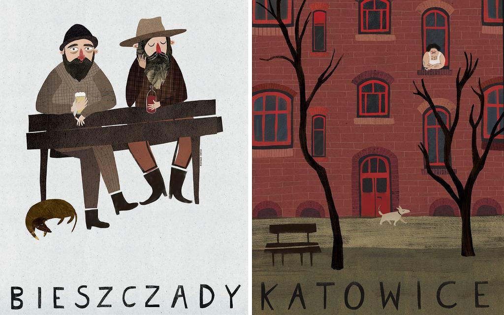 Plakaty 'Bieszczady' i 'Katowice', które pojawią się na wystawie TRŁ 2021 od 27.03 do 2.04.