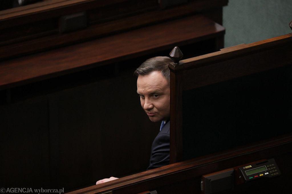 Prezydent Andrzej Duda podczas pierwszego posiedzenia Sejmu IX kadencji. Warszawa, 12 listopada 2020