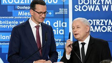 Premier Mateusz Morawiecki i prezes Prawa i Sprawiedliwości Jarosław Kaczyński