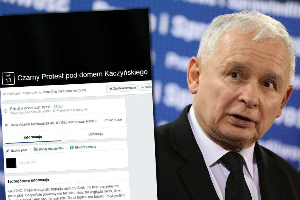 Czarny Protest pod domem Jarosława Kaczyńskiego