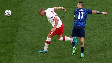 Kamil Glik podczas meczu Polska - Słowacja na Euro 2020. St. Petersburg, 14 czerwca 2021