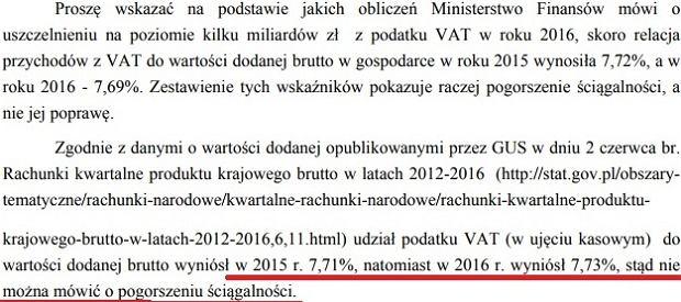Fragment odpowiedzi ministerstwa finansów na interpelację w sprawie ściągalności VAT