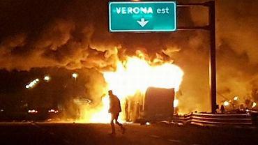 Do wypadku doszło na autostradzie niedaleko zjazdu do Verony