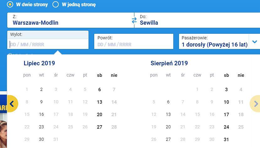 Ryanair.com, zrzut ekranu
