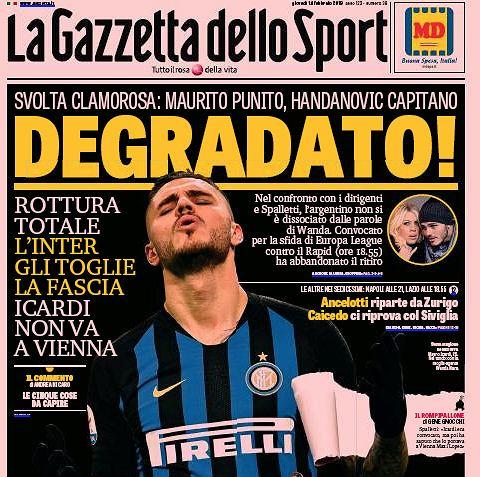 Okładka La Gazzetty dello Sport. Icardi 'zdegradowany'