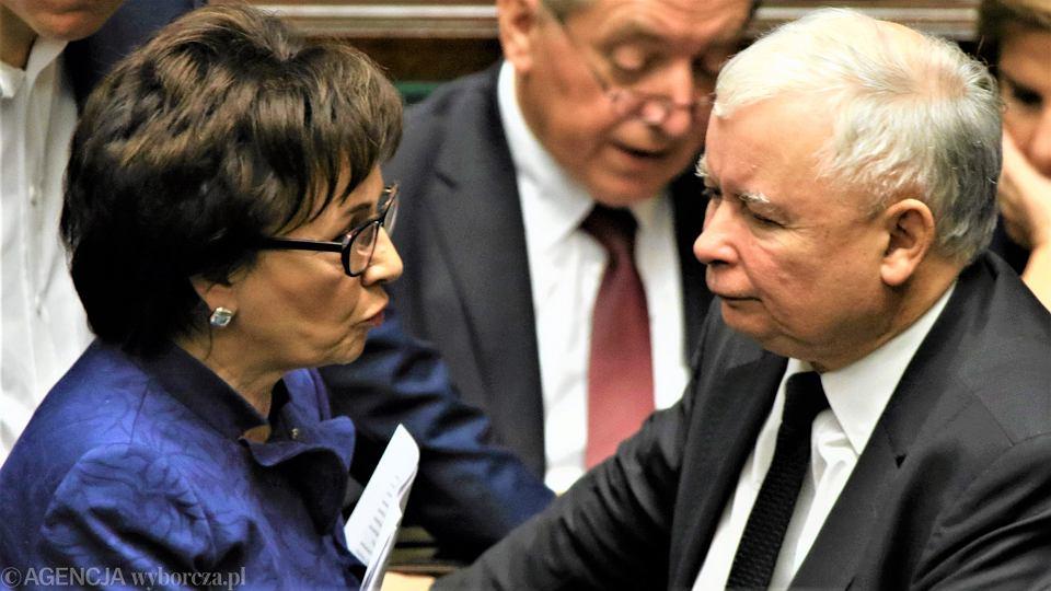 Jarosław Kaczyński - prezes PiS, Elżbieta Witek - marszałek Sejmu
