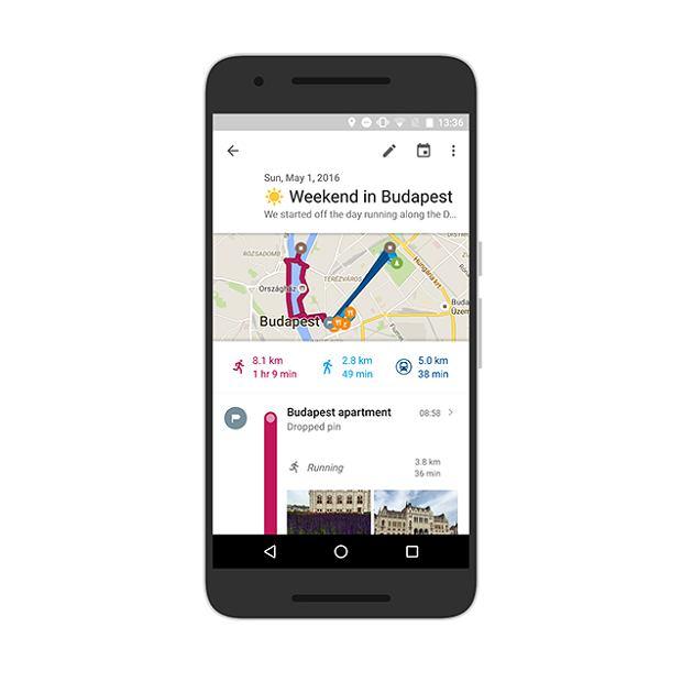 Mapy Google - notatki na osi czasu