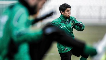 Pierwszy trening piłkarzy Lechii w 2015 roku. Tsubasa Nishi
