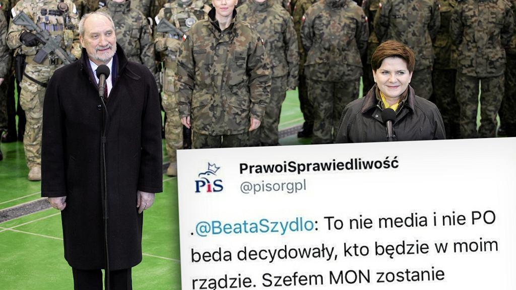 Beata Szydło jeszcze dwa lata temu zapewniała, że Antoni Macierewicz nie zostanie szefem MON