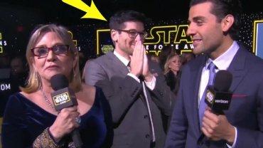 """Carrie Fisher i Oscar Isaac udzielają wywiadu na premierze """"Gwiezdnych Wojen"""""""