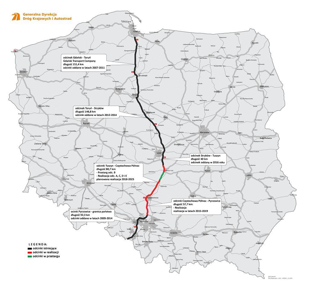 Autostrada A1 - mapa