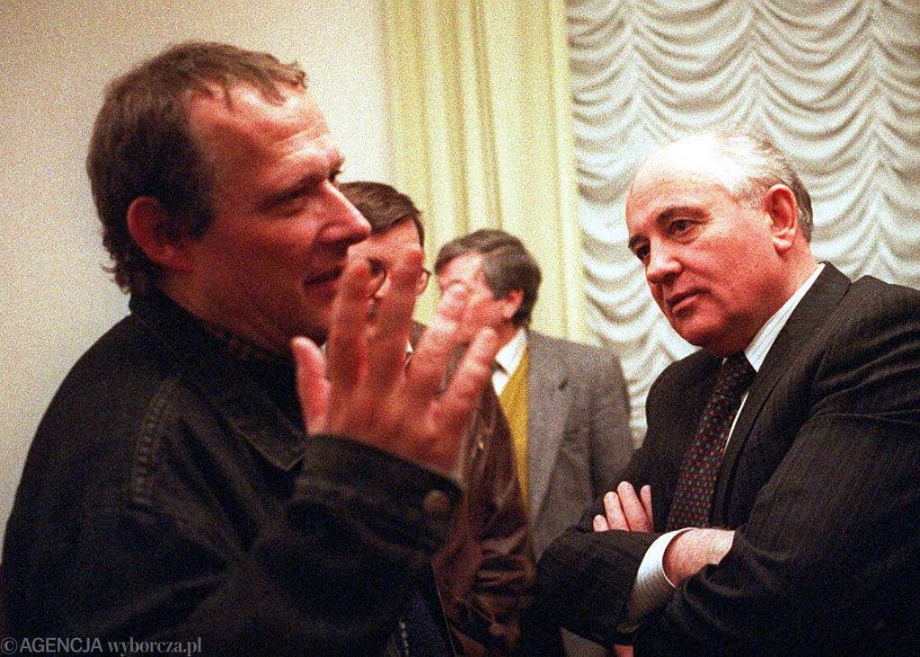 Adam Michnik w rozmowie z Michaiłem Gorbaczowem w marcu 1993 r. w Moskwie
