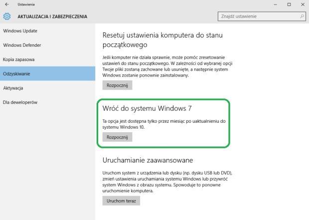 Powrót do Windows 7 z Windows 10